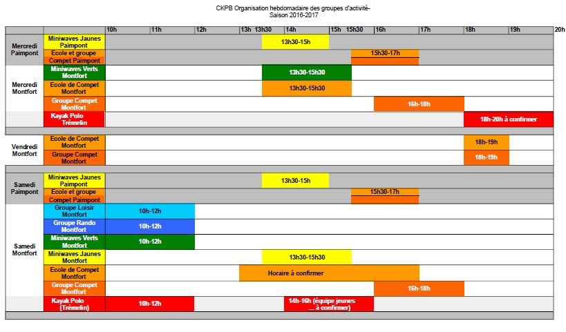 organisation hebdomadaire saison 2016-2017